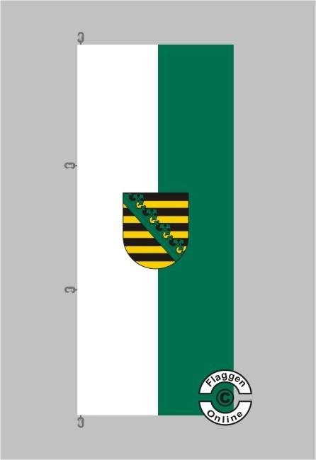 Sachsen mit Wappen Hochformat Flagge / Fahne für extreme Windlasten