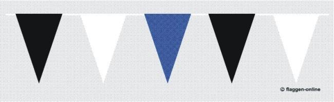 Wimpelkette Schwarz / Weiss / Blau