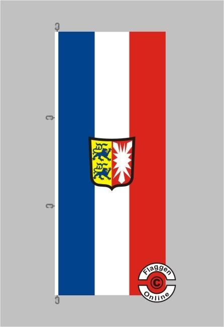 Schleswig-Holstein mit Wappen Hochformat Flagge / Fahne für extreme Windlasten