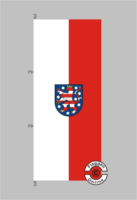 Thüringen mit Wappen Hochformat Flagge / Fahne für extreme Windlasten