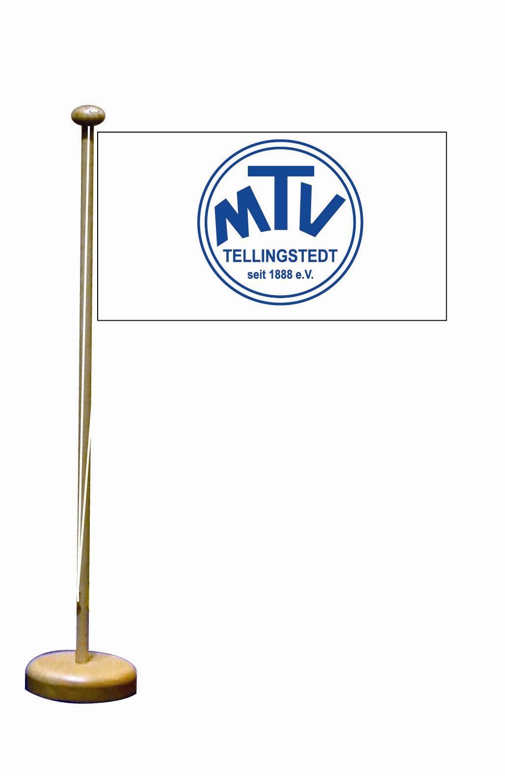 MTV Tellingstedt Tischflagge inkl. Tischflaggenständer aus Holz